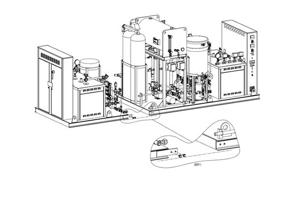 Modular Dual Electric Steam Package: This modular electric boiler packaged system offers complete redundancy to the process with a dual boiler design, all while keeping shipping and rigging in mind. Designed to detach for shipment and rigging, this modular system is easily reassembled in the field, with match-marked unions and labeled wiring harnesses. This system offers (2) 360 kW 480V Boilers, pre-heated feedsystem, water softener, automated chemical feed, and a blowdown separator with aftercooler.