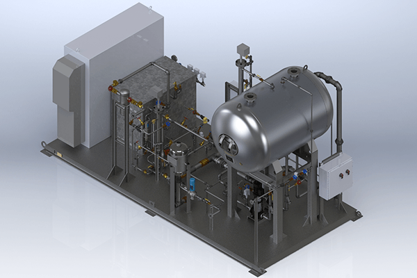 Outdoor Electric Steam Skid Package:  This outdoor electric steam boiler system is designed to endure the harshest of conditions. System includes an air conditioned NEMA 4X master control panel, NEMA 4X rated trim, duplex feed system/condensate recovery tank with electric pre-heat, automated chemical treatment, blowdown separator, and inline steam separator on steam outlet to ensure 99.5% steam quality.